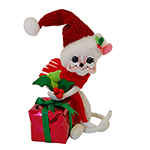Annalee Holly Berry Gift Mouse - 6""