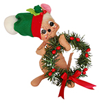 Annalee Holly Berry Wreath Mouse - 8""
