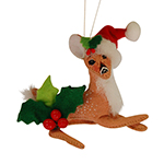 """Annalee Holly Berry Fawn Ornament 2015 - 4"""""""