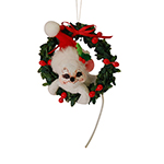 Annalee Holly Berry Wreath Mouse Ornament 2015 - 4""