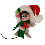 Annalee Gray Holly Berry Mouse Ornament 2015 - 3""
